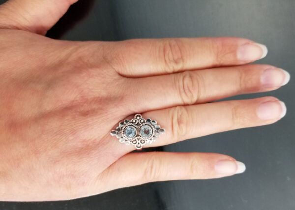 two stone blue topaz ring on hand