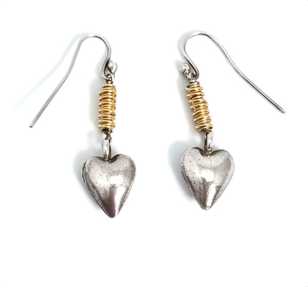 two tone dangle heart earrings