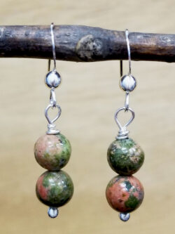 unakite beaded sterling silver earrings