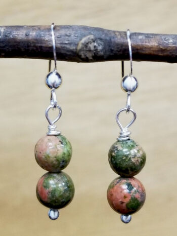 unakite beaded sterling silver earrings