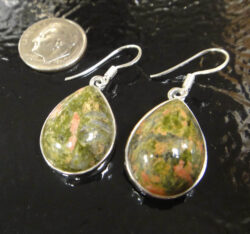 handmade unakite and sterling silver earrings with dime for size