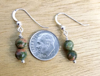 unakite earrings with dime for scale