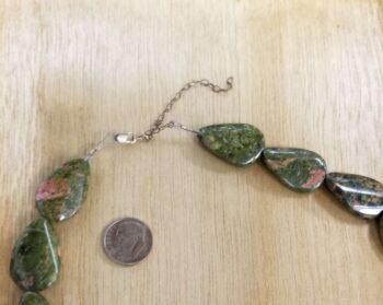 unakite necklace with extender clasp, dime shown for scale