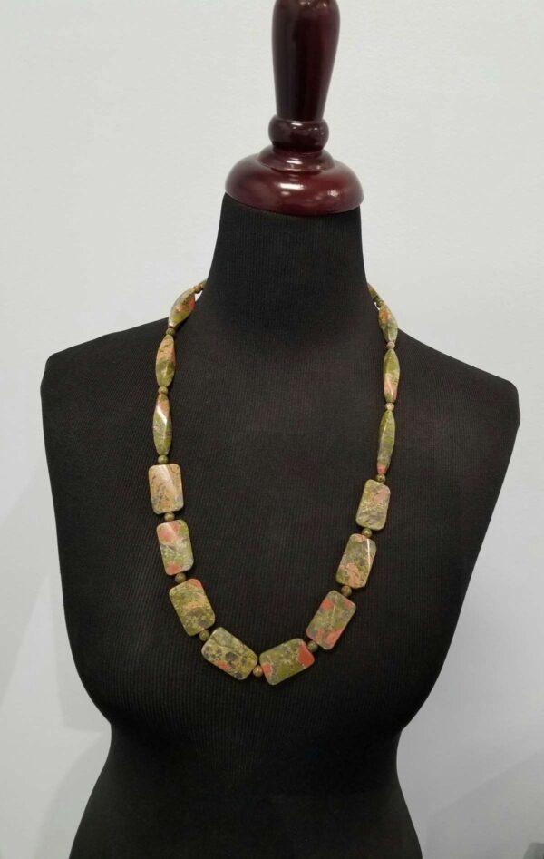 unakite necklace on dressform