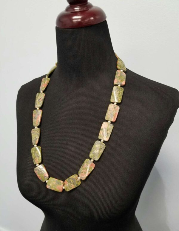 long unakite and pearl necklace