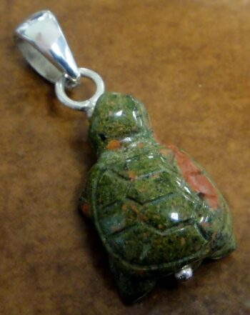 handmade carved unakite turtle and sterling silver pendant