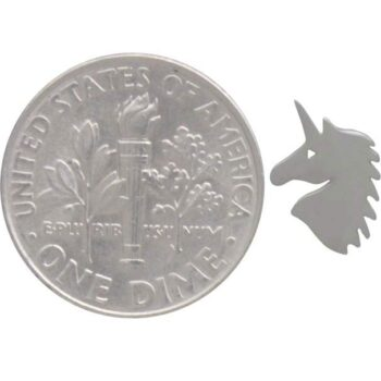 unicorn post earrings with dime for scale