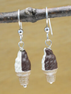 Handmade ceramic chocolate and vanilla twist ice cream cone earrings