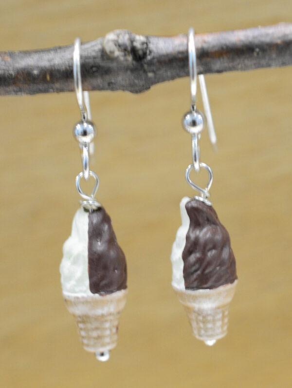 Handmade ceramic chocolate and vanilla twist ice cream cone earrings