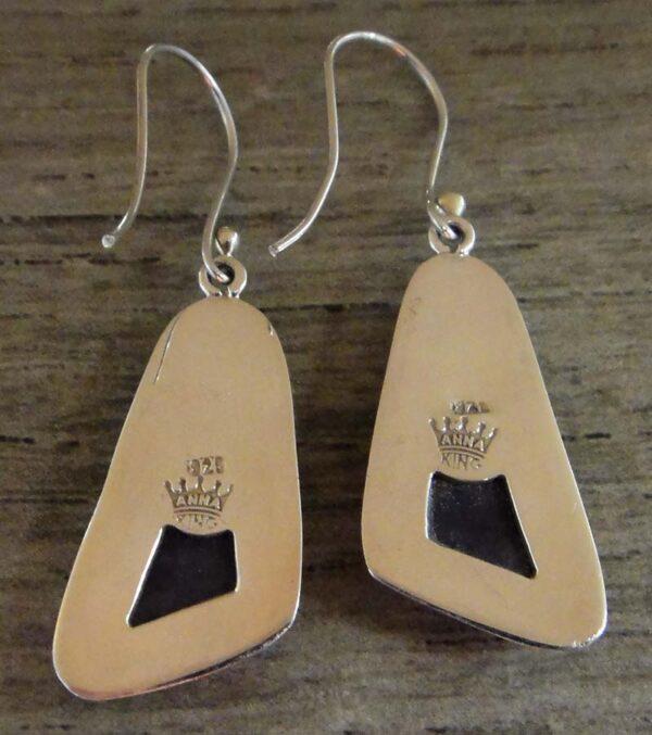 back of variscite sterling silver earrings