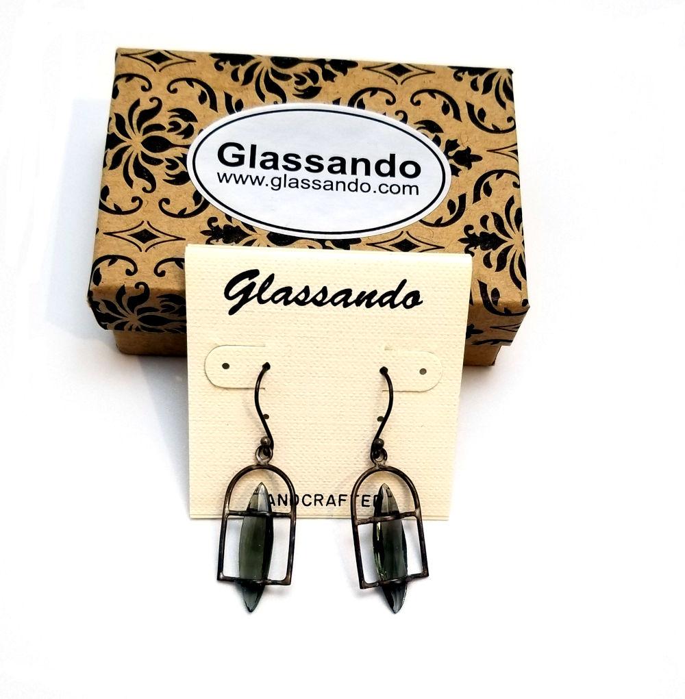 Vintage German art glass and sterling silver earrings