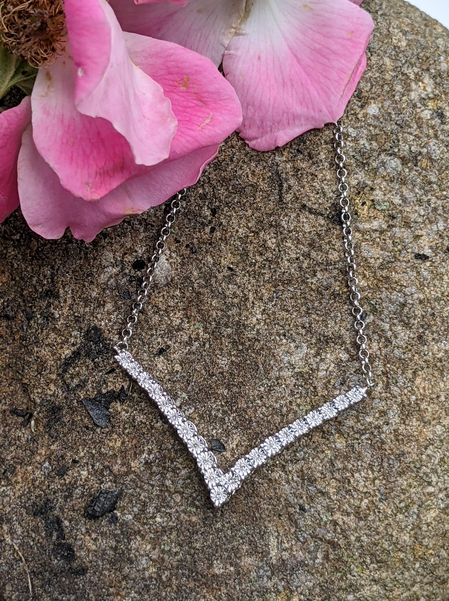 diamond and sterling silver necklace