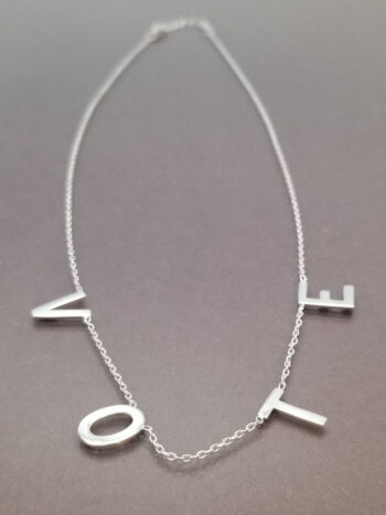 vote necklace, sterling silver