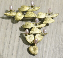 Michael Michaud Silver Seasons water lily brooch pin