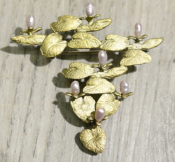 Michael Michaud Silver Seasons water lily brooch pin
