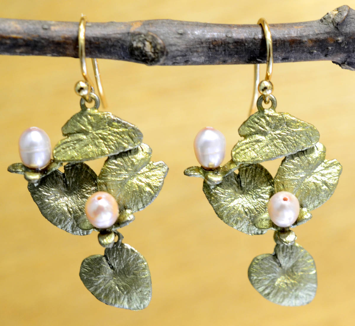 Michael Michaud Silver Seasons Water Lily dangle earrings