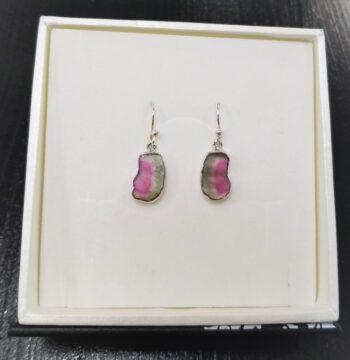 watermelon tourmaline sterling silver dangle earrings
