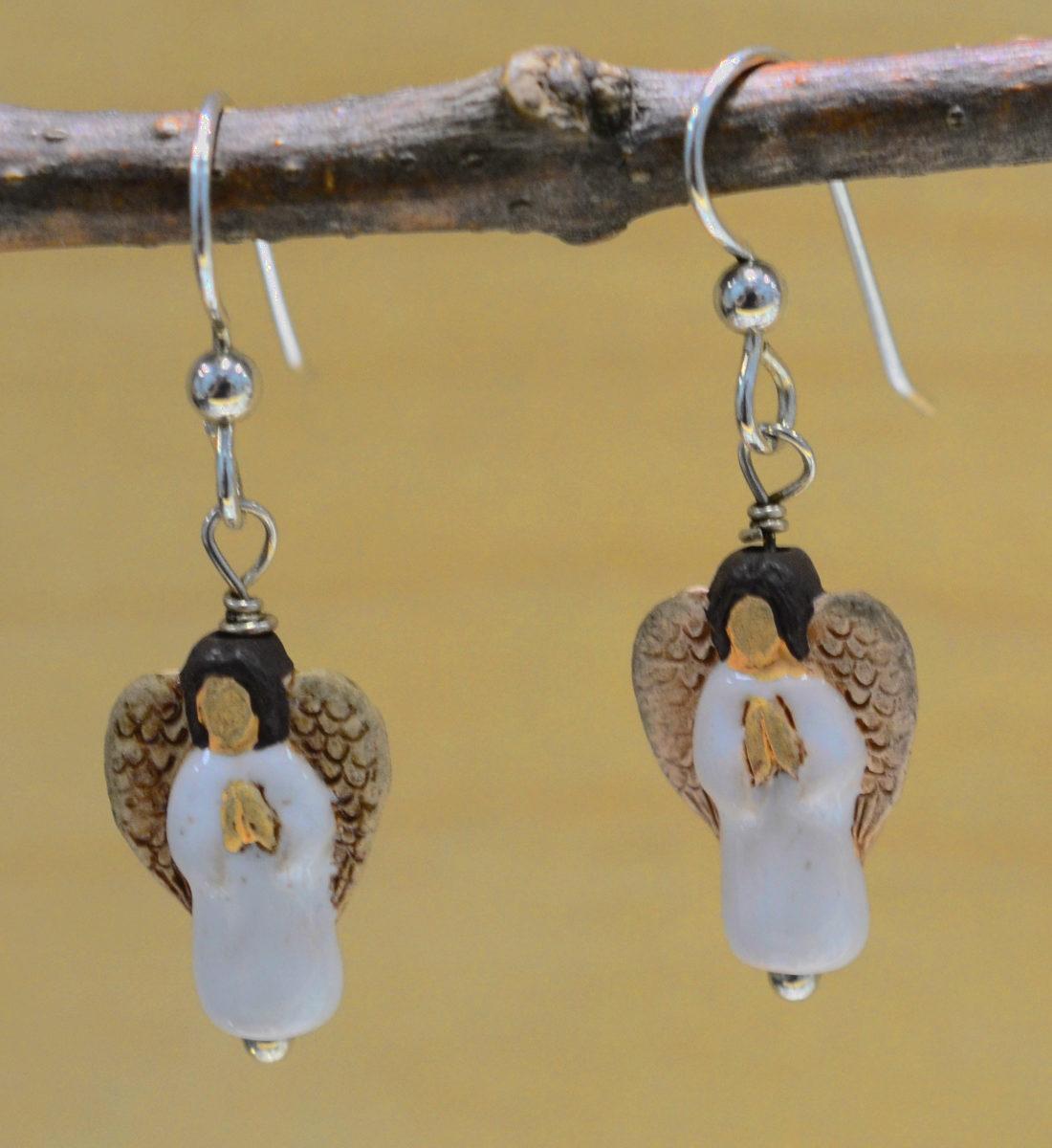 handmade white ceramic angel earrings