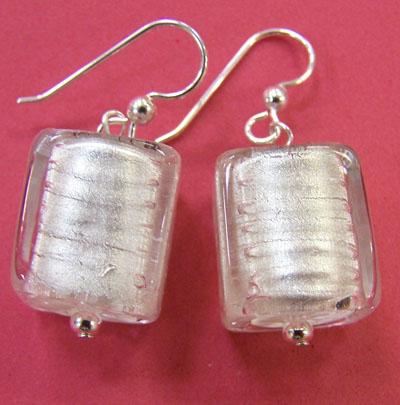 Murano glass white cube earrings