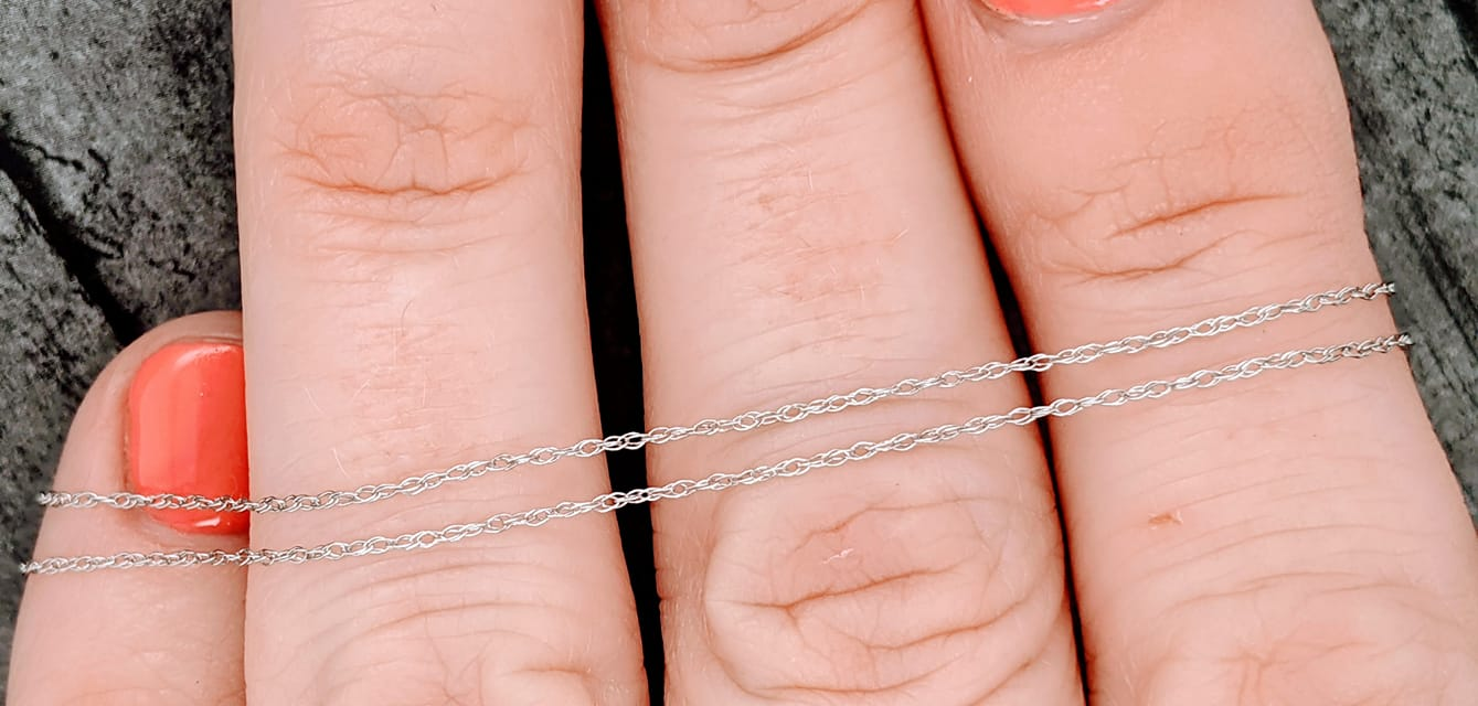 10k white gold rope chain in 18 inch length
