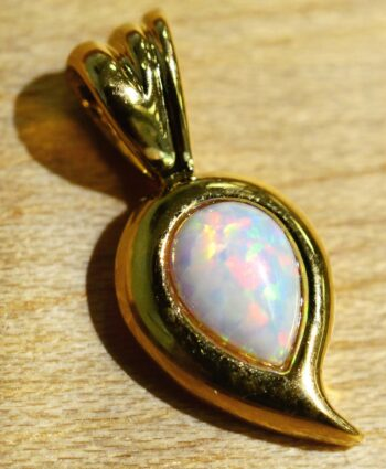 Handmade created white opal and 14k gold vermeil pendant