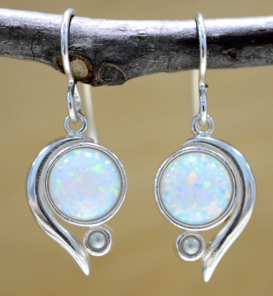 white opal, freshwater pearl, and sterling silver earrings