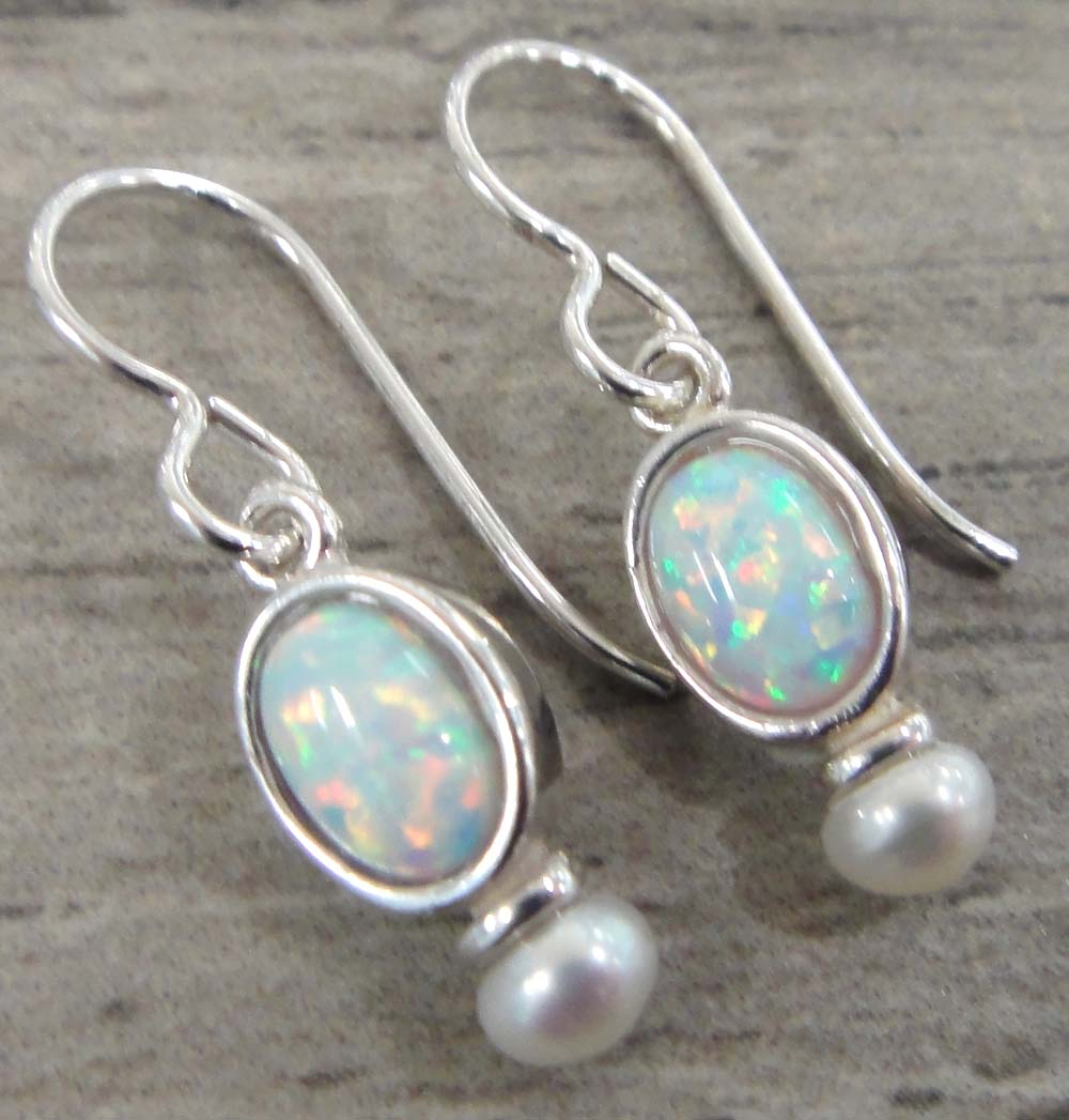 Handmade oval white opal, freshwater pearl, and sterling silver drop earrings