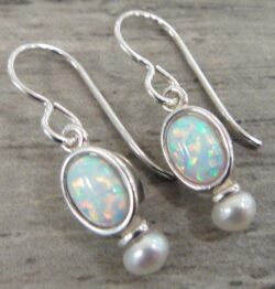 Handmade created white opal, pearl, and sterling silver earrings