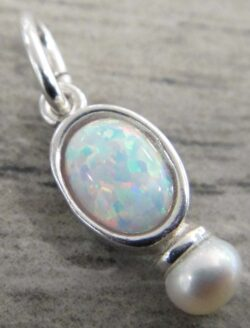 Handmade white opal, freshwater pearl, and sterling silver pendant