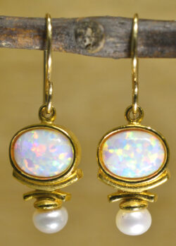 Sierra Designs white opal, white freshwater pearl, and 14k gold vermeil drop earrings