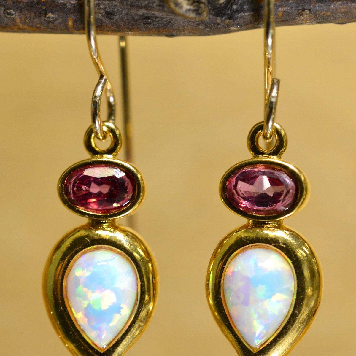white opal, pink topaz, 14k white gold dangle earrings by Sierra Designs
