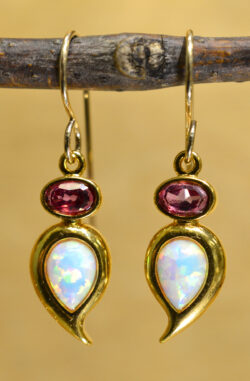 white opal, pink topaz, 14k white gold dangle earrings by Sierra Designs