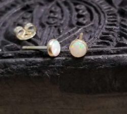 white created opal and sterling silver petite stud earrings