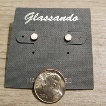 white created opal and sterling silver stud earrings with dime for scale
