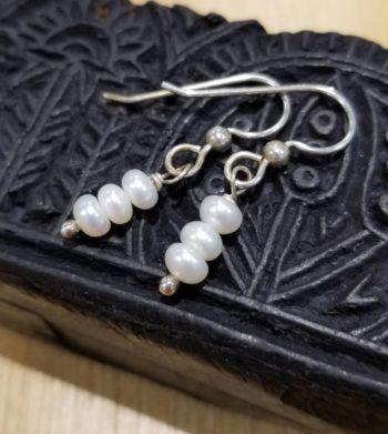 white fresh water pearl earrings