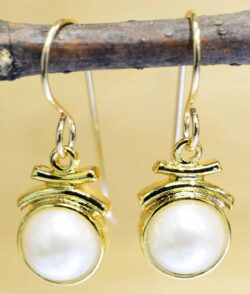 White pearl 14k gold vermeil dangle earrings