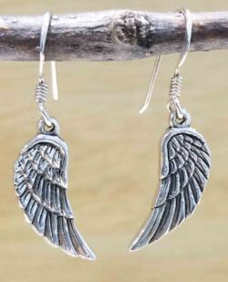 handmade sterling silver delicate wing earrings