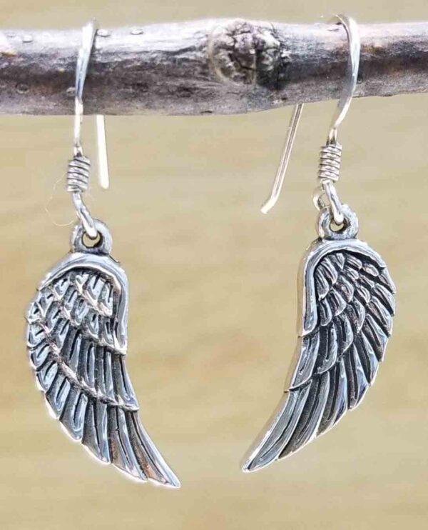 handmade sterling silver delicate wing earrings