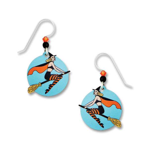 Vintage inspired pin-up girl witch earrings