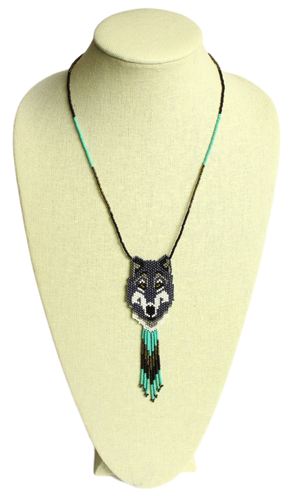 woven seed bead wolf necklace