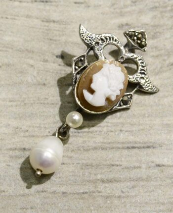 Hand carved cornelian shell cameo, marcasite, pearl, and sterling silver pendant