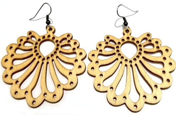 Wooden scallop earrings
