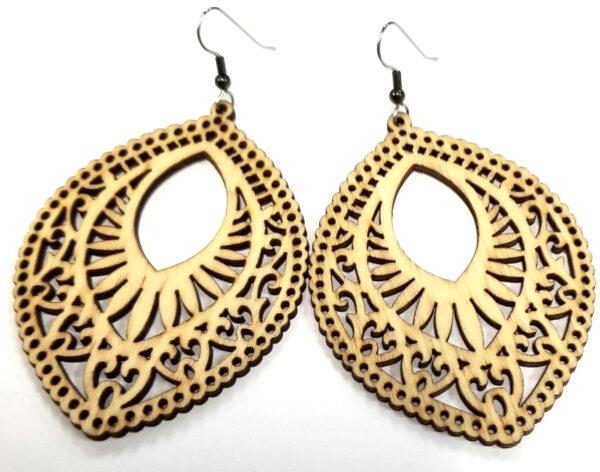wooden ellipse shaped statement earrings