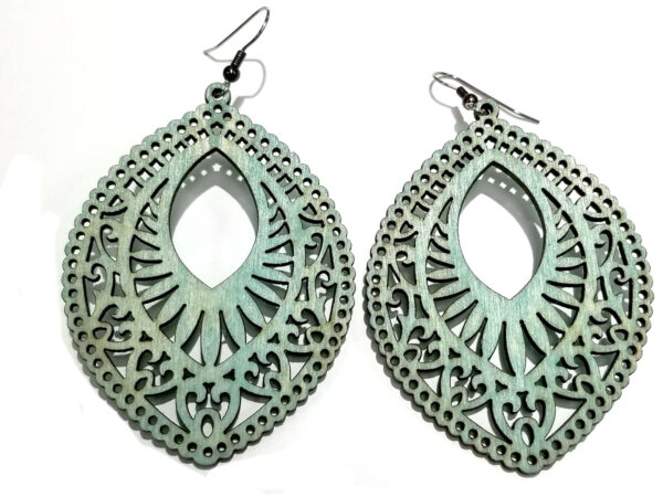 Teal stained wooden statement earrings