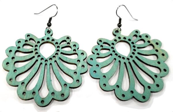 teal wooden scallop earrings