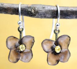 Michael Michaud Silver Seasons Wood of Life flower drop earrings