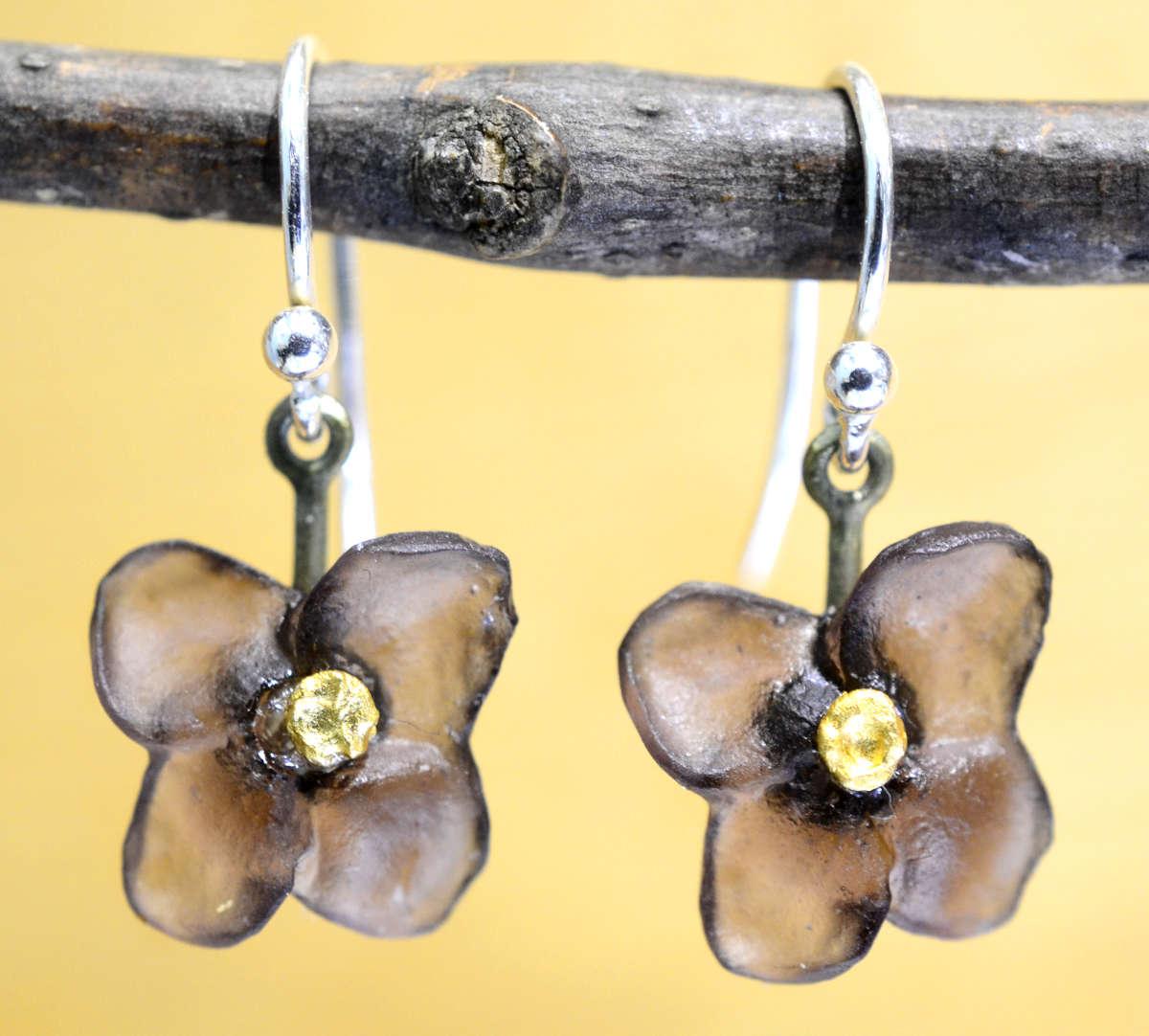 Michael Michaud Silver Seasons Wood of Life flower drop earrings