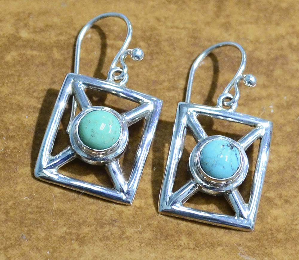 e7d7cbb8d handmade TURQUOISE + .925 sterling silver modern dangle earrings ...