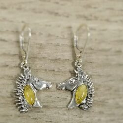 yellow amber horse head earrings