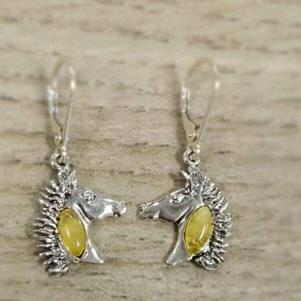 yellow amber horse head earrings